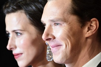 Actor Cumberbatch and his fiancee Hunter arrive at the British Academy of Film and Arts (BAFTA) awards ceremony in London